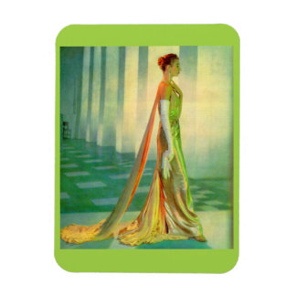 1960s beautiful lady in evening gown magnet