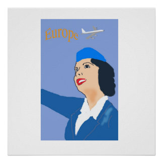 1960's Flight Stewardess Poster