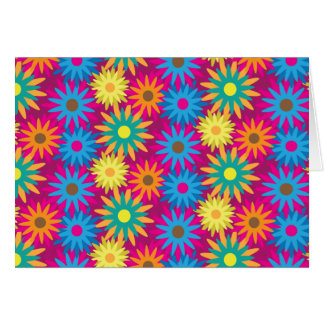 1960s Flower Power Colorful Floral Modern Pattern Card