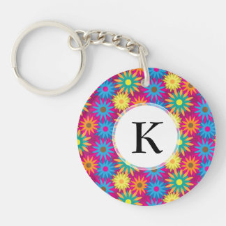 1960s Flower Power Colorful Floral Modern Pattern Keychain