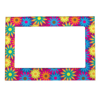 1960s Flower Power Colorful Floral Modern Pattern Magnetic Frames