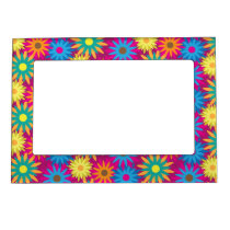 1960s Flower Power Colorful Floral Modern Pattern Magnetic Photo Frame