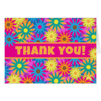 1960s Flower Power Colorful Floral Thank You Note Card