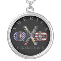 1960s Generation X American Skateboard Silver Plated Necklace