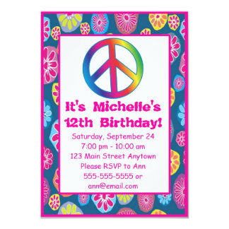 1960s Groovy Love Peace Birthday Party Invitations