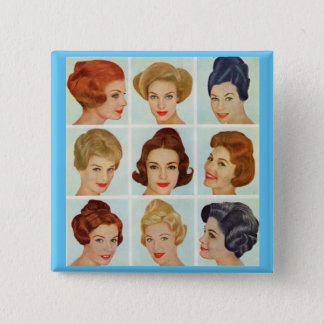 1960s hairstyles grid pinback button