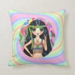 1960s Hippie Girl Flashing Peace Sign Pillow