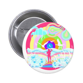 1960's Hippy Style Art Pinback Button