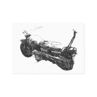 1960s Honda Motorcycle Distressed Sketch Canvas