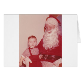 1960's Little Boy and Santa Greeting Card