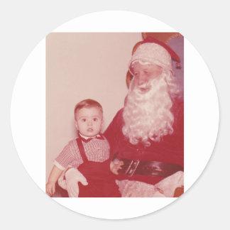 1960's Little Boy and Santa Classic Round Sticker