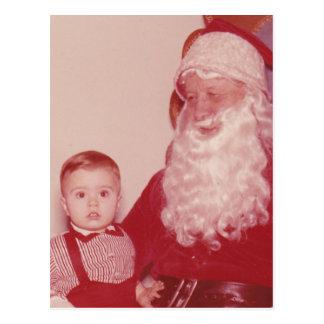 1960's Little Boy and Santa Post Card