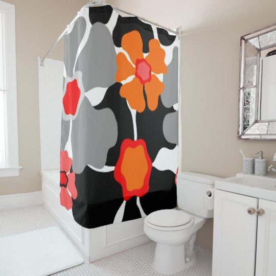 1960s Mod Floral Print Shower Curtain