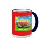 1960s: Peace and Love, Far Out, birthda coffee mug