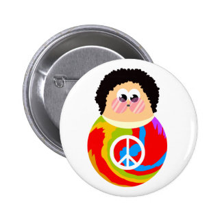 1960's Peace Sign Cartoon Character Kid Button