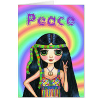 1960s Peace Sign Hippie Girl with Headband