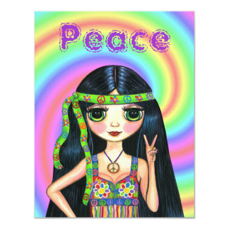 1960s Peace Sign Hippie Girl with Headband Card