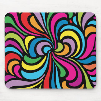 1960s Psychedelic Abstract Swirl Pattern Mouse Pad