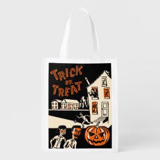 1960s Vintage Halloween Treat Bag Reusable Grocery Bag