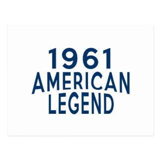 1961 American Legend Birthday Designs Postcard