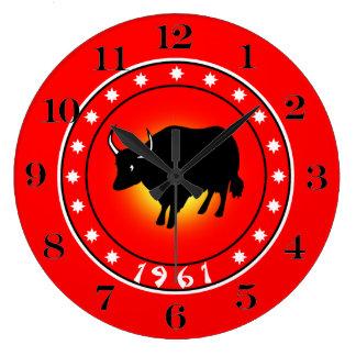 1961 años del buey reloj de pared