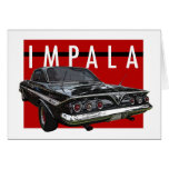 1961 Black Chevy Impala Bubble Top Rear View Stationery Note Card