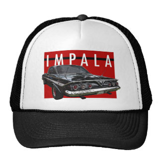 1961 Black Chevy Impala Bubble Top Rear View Trucker Hat