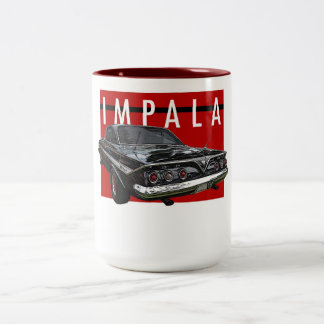 1961 Black Chevy Impala Bubble Top Rear ViewA Two-Tone Coffee Mug