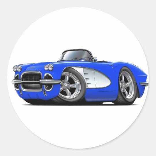 1961 Corvette Blue Convertible Classic Round Sticker