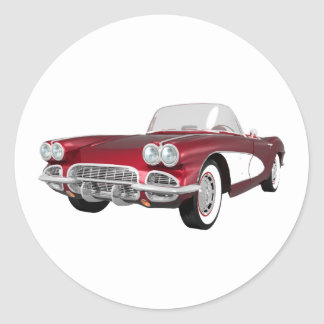1961 Corvette C1: Candy Apple Finish: Classic Round Sticker
