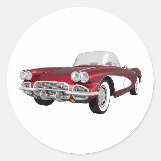 1961 Corvette C1: Candy Apple Finish: Classic Round Sticker