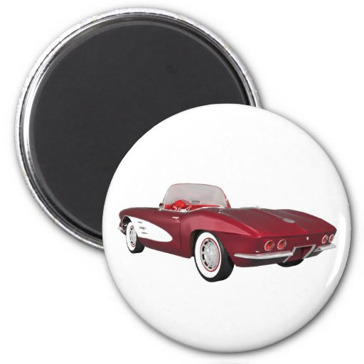 1961 Corvette C1: Candy Apple Finish: 2 Inch Round Magnet