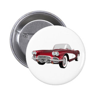 1961 Corvette C1: Candy Apple Finish: Pinback Button