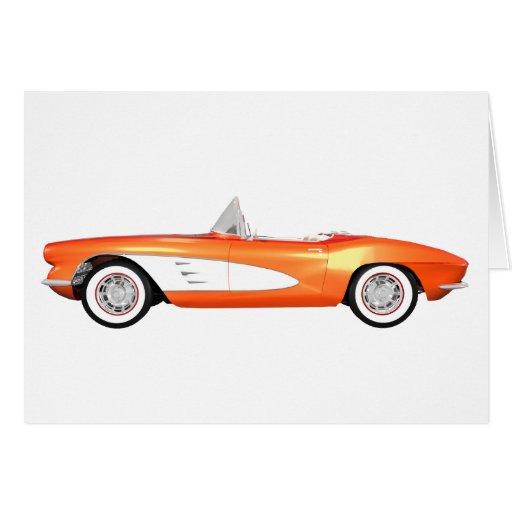 1961 Corvette C1: Orange Finish: Greeting Cards