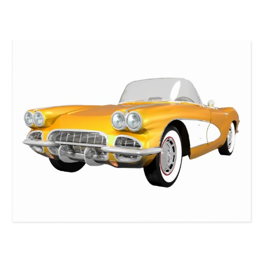 1961 Corvette C1: Yellow Finish: Post Cards