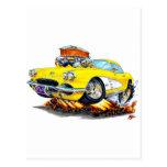 1961 Corvette Yellow Car Postcard