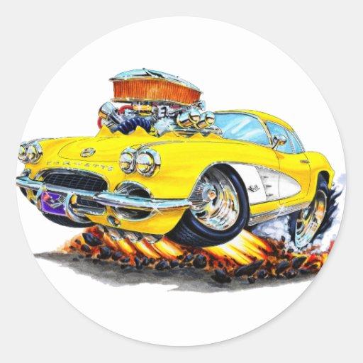 1961 Corvette Yellow Car Stickers