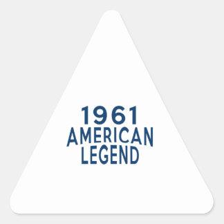 1961 diseños del cumpleaños de la leyenda del pegatina triangular