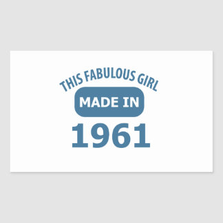 1961 year fabulous designs rectangular sticker