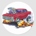 1962-65 Nova Maroon Car Round Stickers