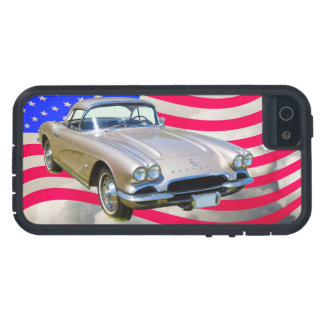 1962 Chevrolet Corvette And American Flag Case For iPhone SE/5/5s