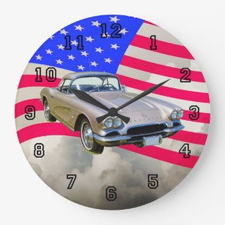 1962 Chevrolet Corvette And American Flag Large Clock