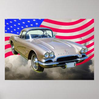 1962 Chevrolet Corvette And American Flag Print