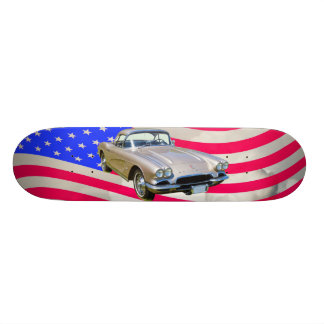 1962 Chevrolet Corvette And American Flag Skateboard Deck