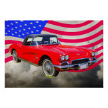1962 Chevrolet Corvette With United States Flag Poster