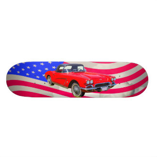 1962 Chevrolet Corvette With United States Flag Skateboard Deck