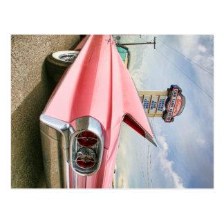 1962 pink cadillac convertible postcard