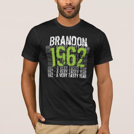 1962 Vintage - Birthday Black and Lime Custom Name T-Shirt
