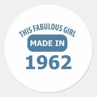 1962 year fabulous designs classic round sticker