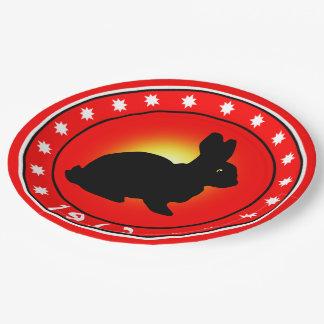 1963 años del conejo plato de papel de 9 pulgadas